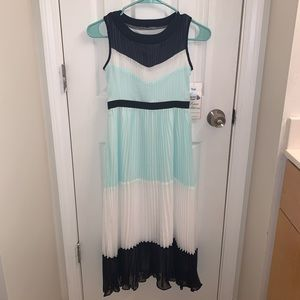 Teal and navy blue formal dress
